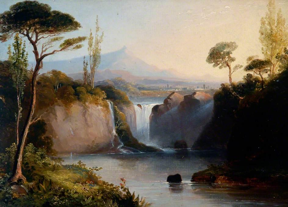 Italian Landscape with Waterfall