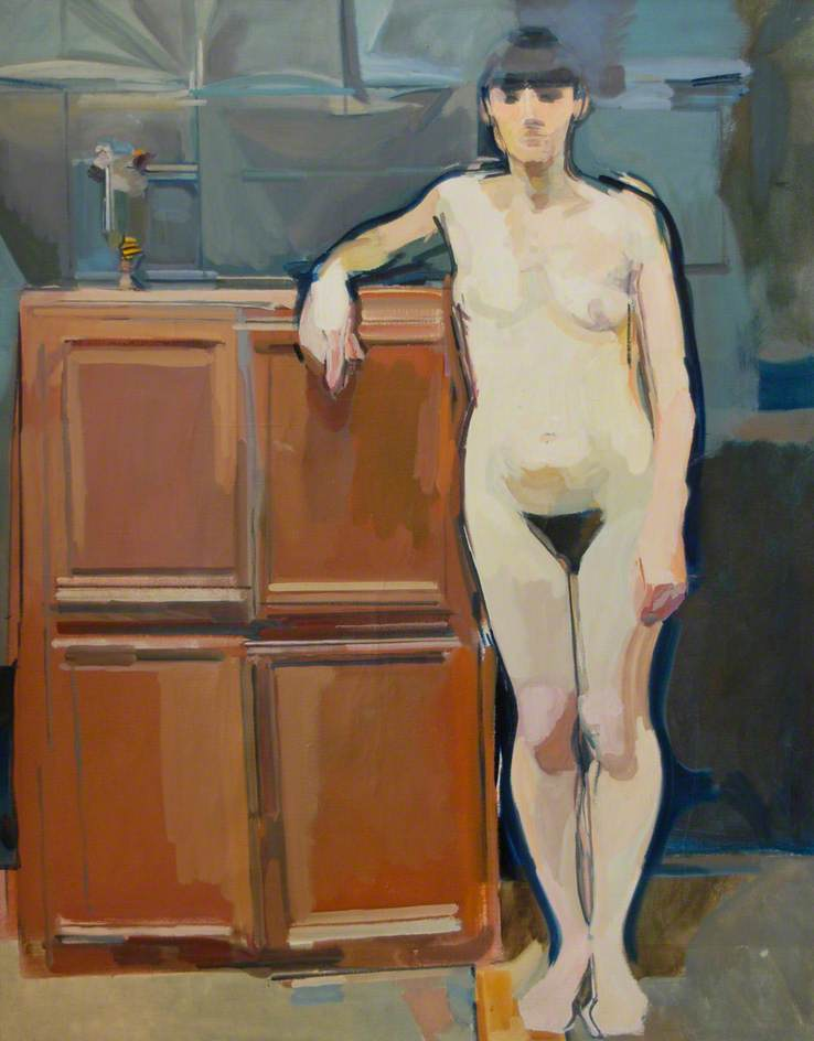 Portrait of Mimi with a Brown Cupboard against Black