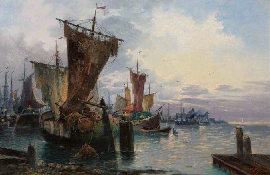 A Harbour Scene with Figures and Fishing Boats