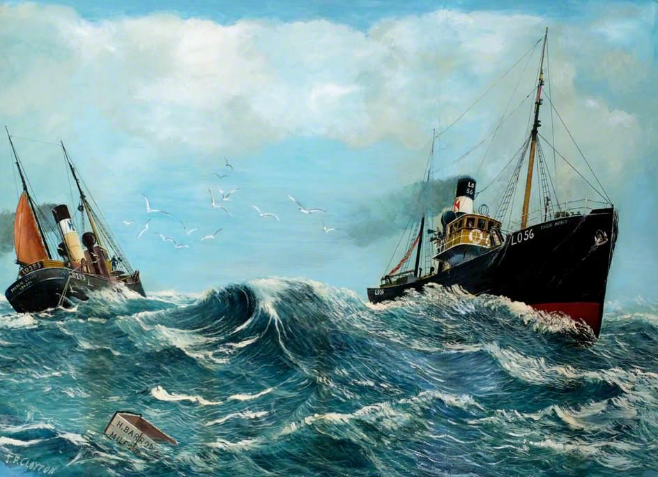 The Trawler 'The Merit' LO56 Passing the Trawler 'Pheneas Beard' LO283