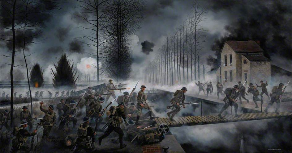 Crossing the Sambre-Oise Canal, 4th November 1918