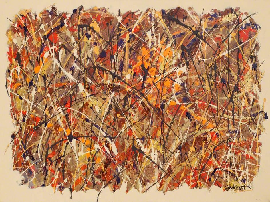 Abstract Black Orange And Brown On Beige Art Uk