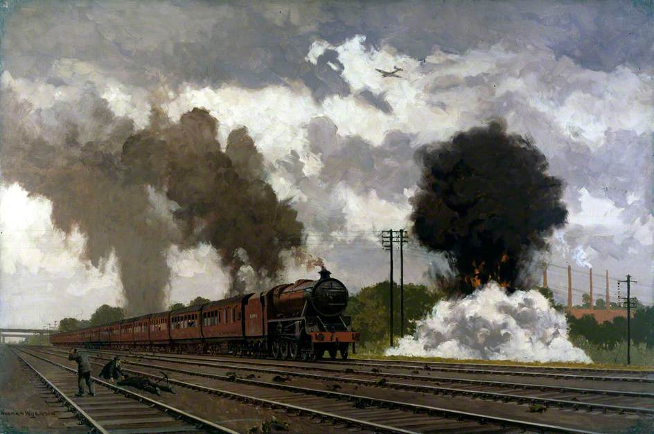 London, Midland and Scottish Express Train Being Bombed near Bletchley, October 1940