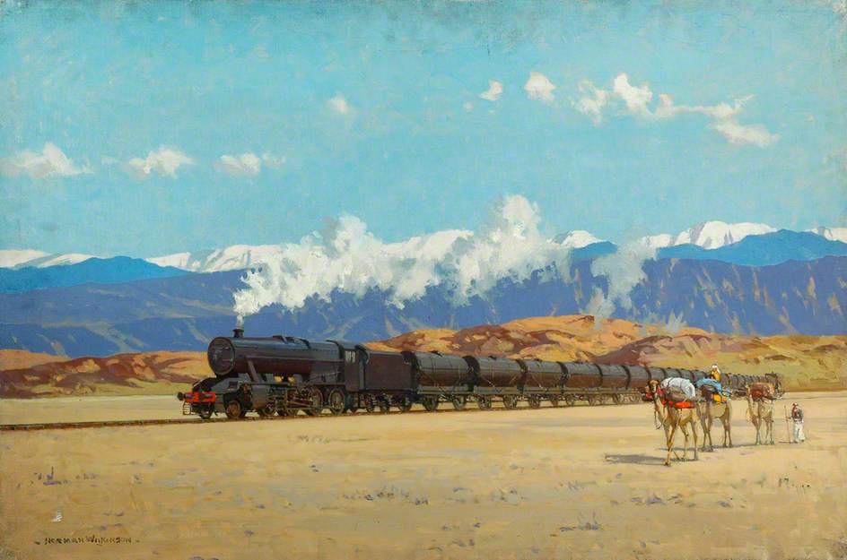 London, Midland and Scottish Railway Locomotive in Persia Taking Supplies to Russia