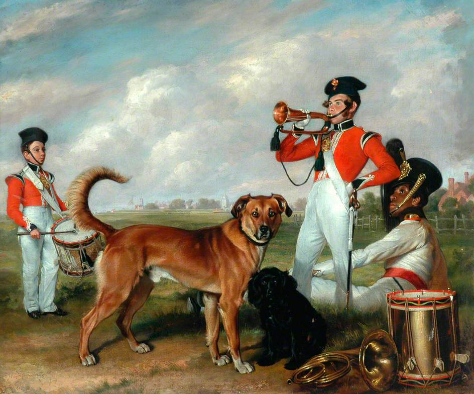 Buglers and Drummers with Dogs on the Parade Ground