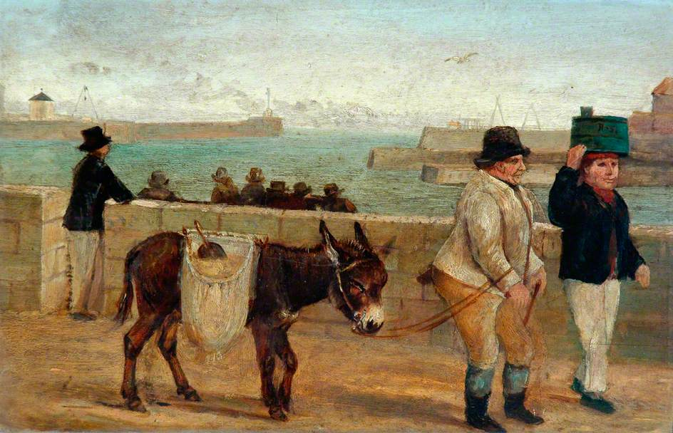 Whitby Harbour with Figure and Donkey, Staithside