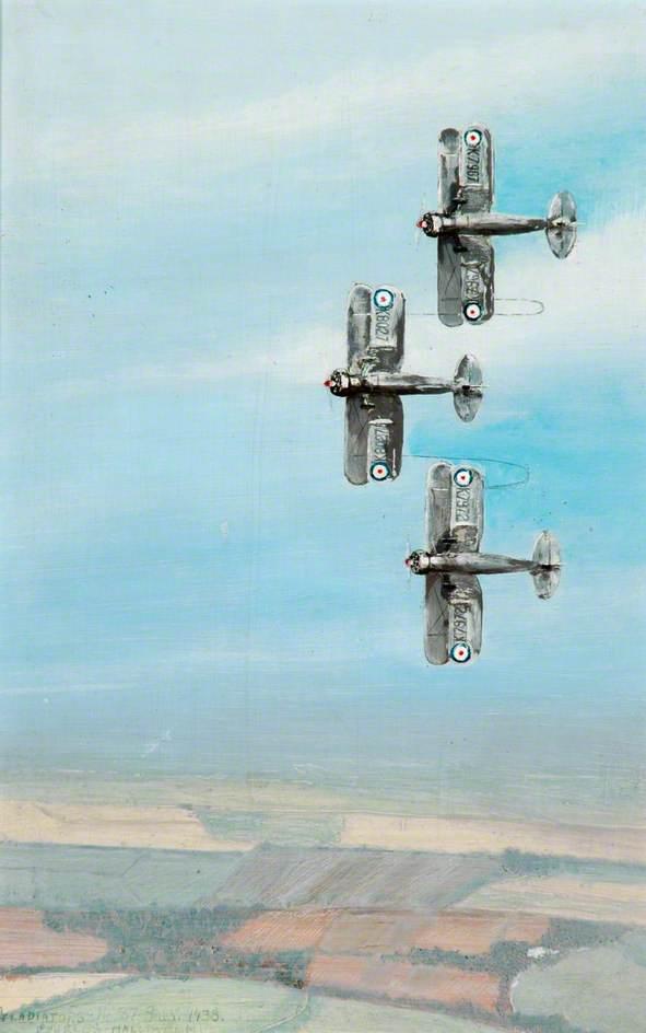 87 Squadron Gladiators Tied Together K7967, K8027, K7972