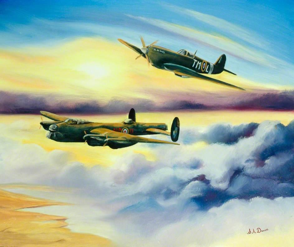 Lancaster NP-U and Spitfire TM-L