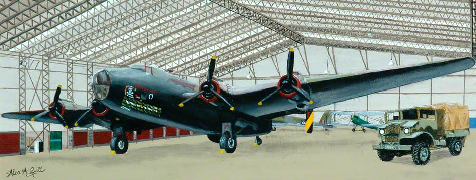 'Friday 13th' Halifax of 158 Squadron in T2 Hanger at Elvington