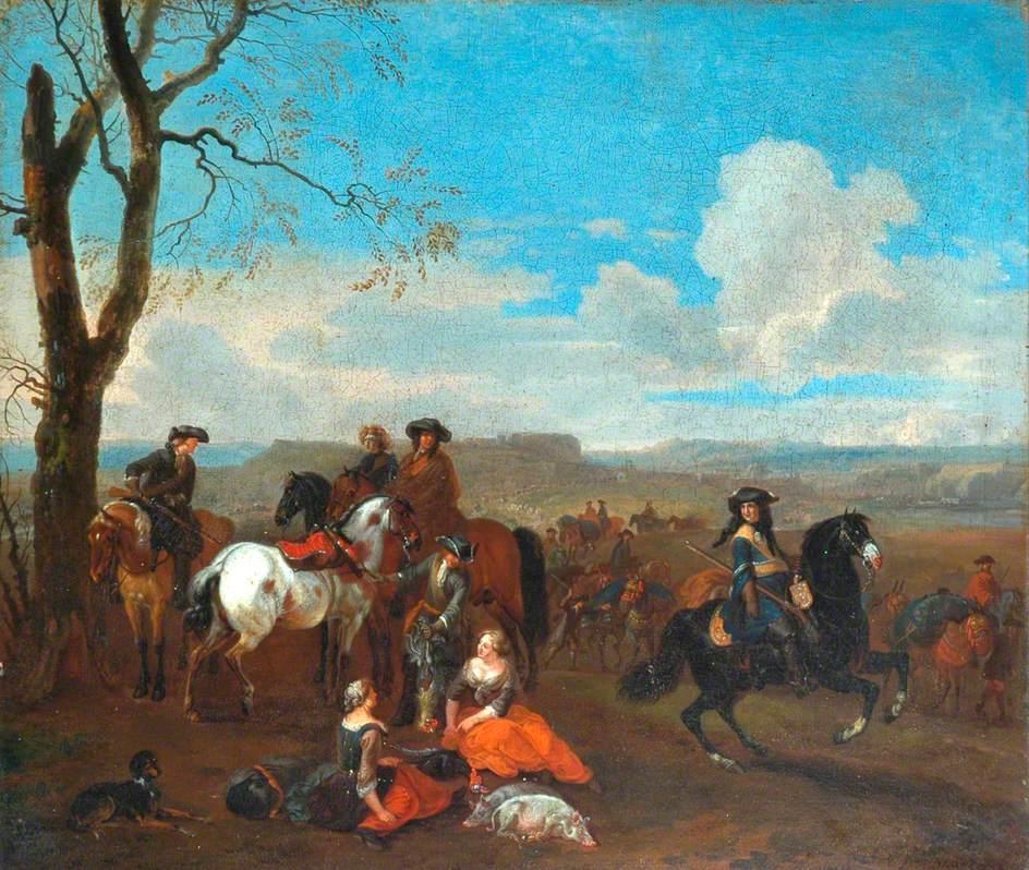 Hunting Scene in Wooded Landscape