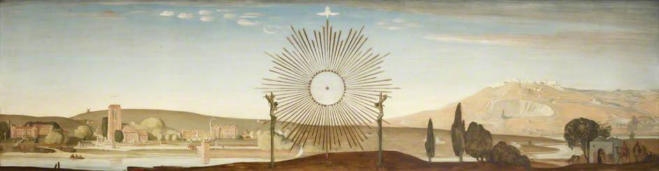 English Landscape and Palestine Landscape with a Crucifixion Scene