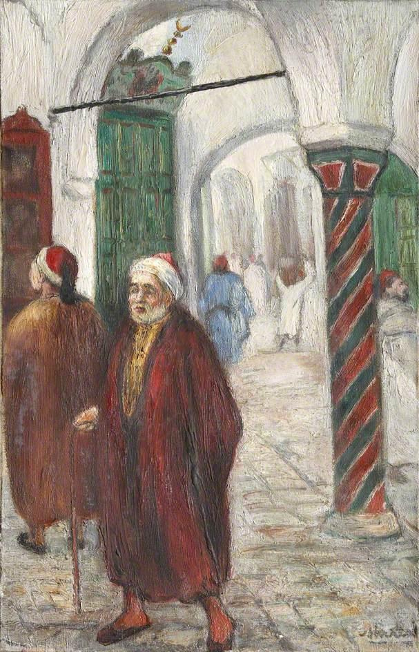 Arab Figures by Striped Pillar