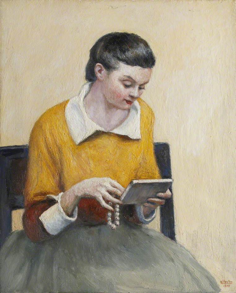 Portrait of a Seated Lady in Yellow and Green Reading