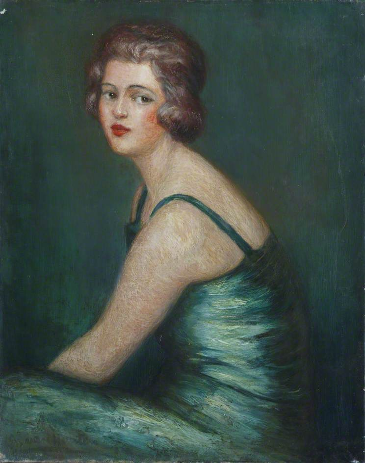 Lady in Green Evening Dress