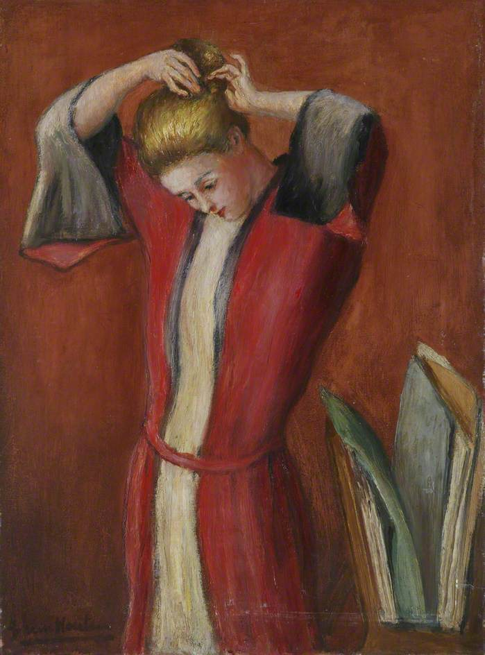 Lady in a Red and White Robe, Pinning up Her Hair