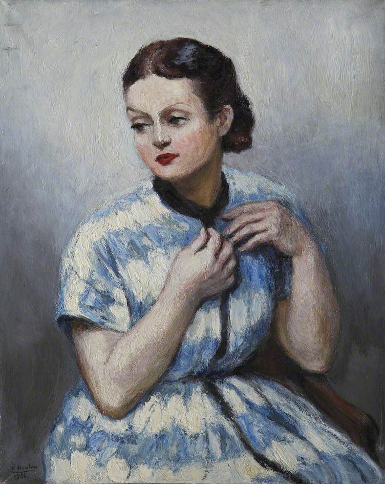 Lady in a Blue and White Dress