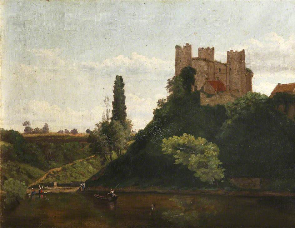 Boats on a River by a Castle