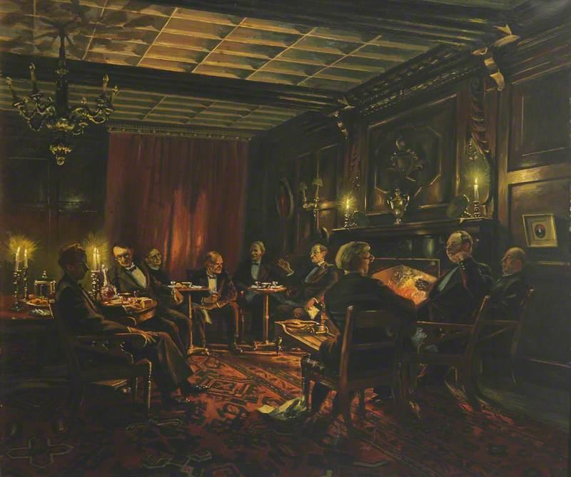 Group in Senior Common Room: A. W. Raitt (1930–1920), C. G. Hardie (1906–1988), A. W. Adams (1912–1997), G. Ryle (1900–1976), T. S. R. Boase (1898–1974), G. R. Driver (1892–1975), C. S. Lewis (1898–1963), J. H. E. Griffiths (1908–1981) and J. A. W. Bennett (1911–1981)