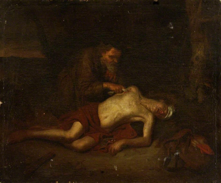 A Man Treating a Wound (The Good Samaritan)