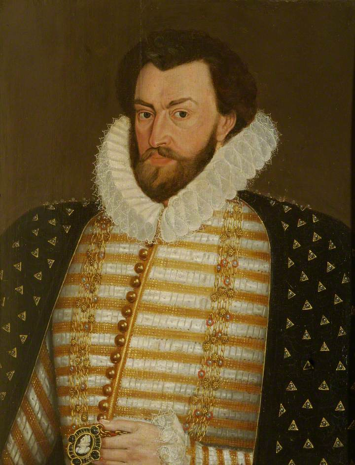 Portrait of a Nobleman Dressed in Court Robes and Holding a Medallion of Queen Elizabeth I