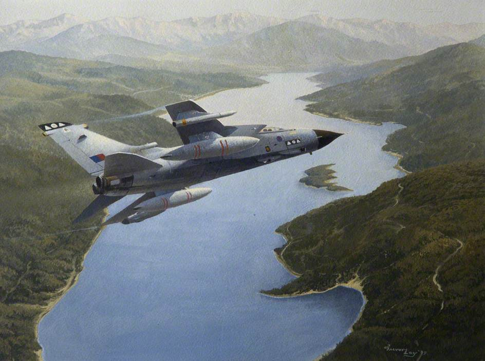Tornado of No. 2 Squadron over a Highland Loch