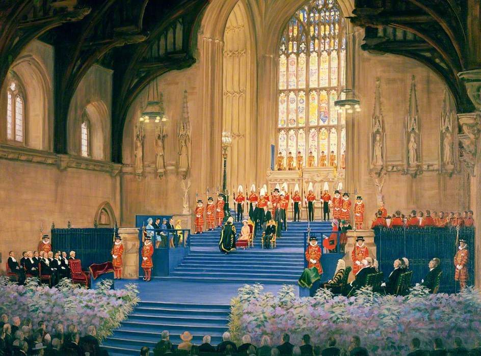 Elizabeth II Receiving the Jubilee Address in Westminster Hall, 1977