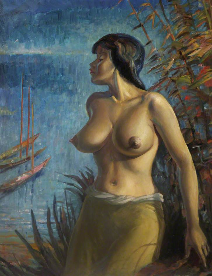 Woman in Foliage near River with Boats
