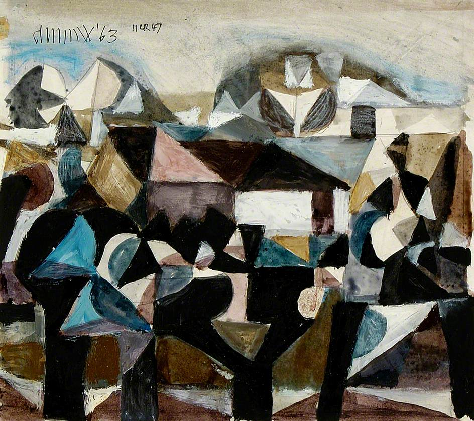 Geometric Landscape in Black, Brown, Blue and Pink