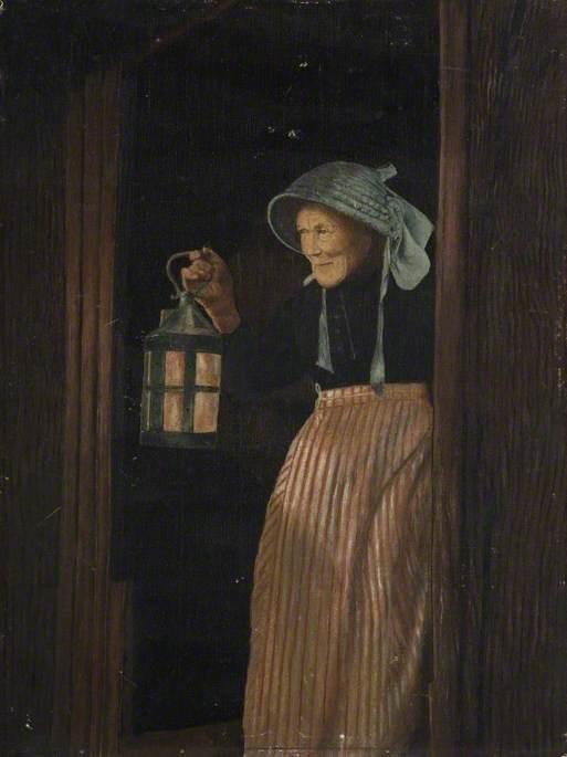 Eliza Merchant with a Lantern, Resident of Porlock, Exmoor