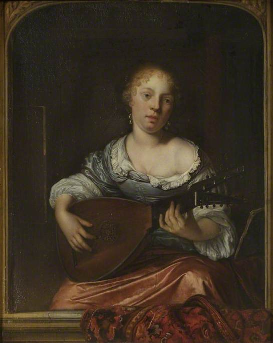 A Young Lady Playing the Lute