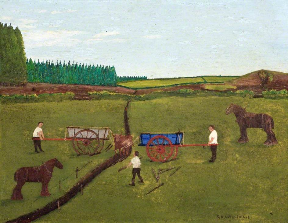 Two Carts Pulling a Cow from a Ditch, c.1935
