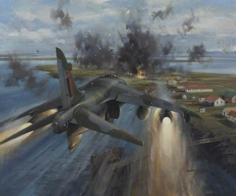 Harrier Aircraft Attacking Goose Green, 28–29 May 1982