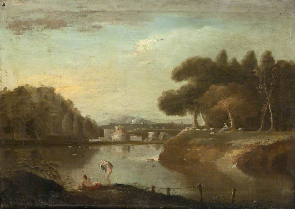 River Scene with Bathers