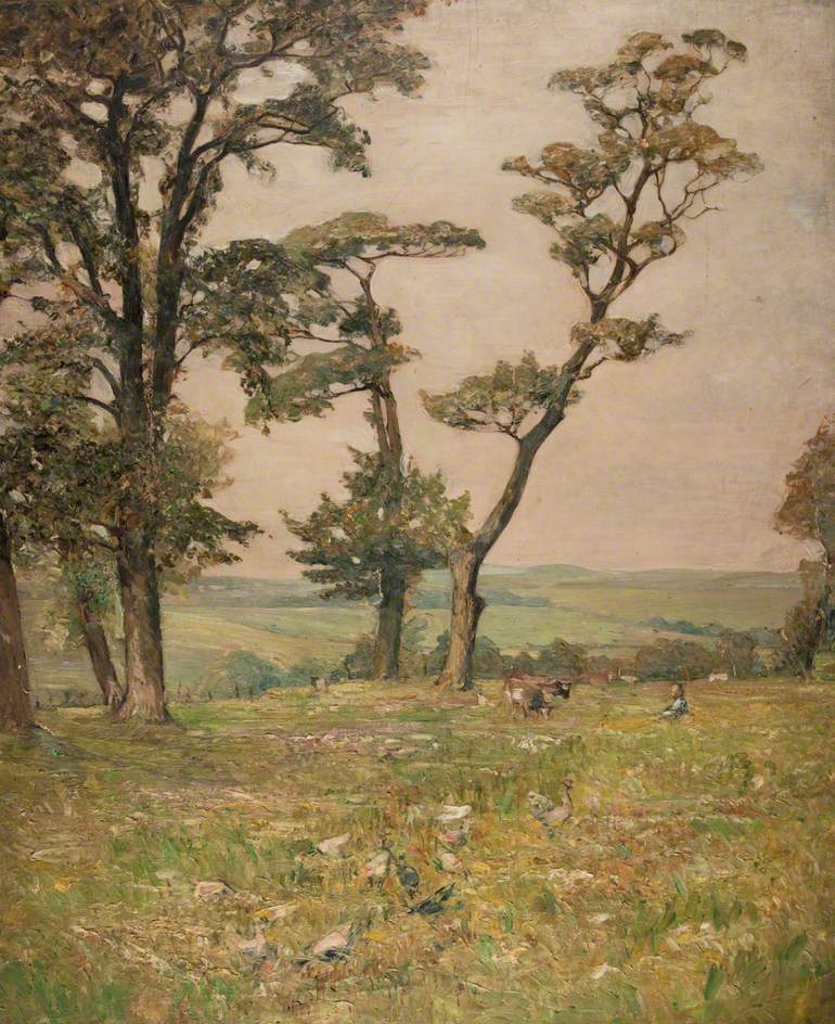 Countryside with Two Cows and a Figure