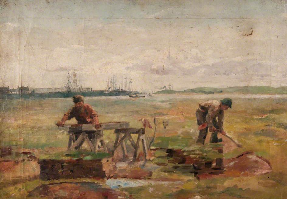 Two Workmen with a Background of Sailing Ships