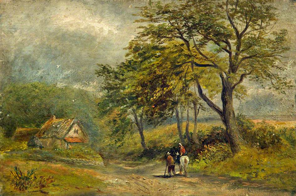 Roadside Cottage with Two People and a Horse in the Foreground