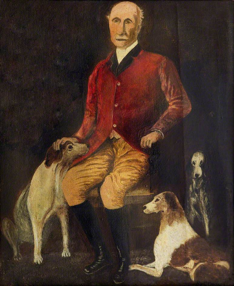 Portrait of a Gentleman in Hunting Pink with Three Dogs