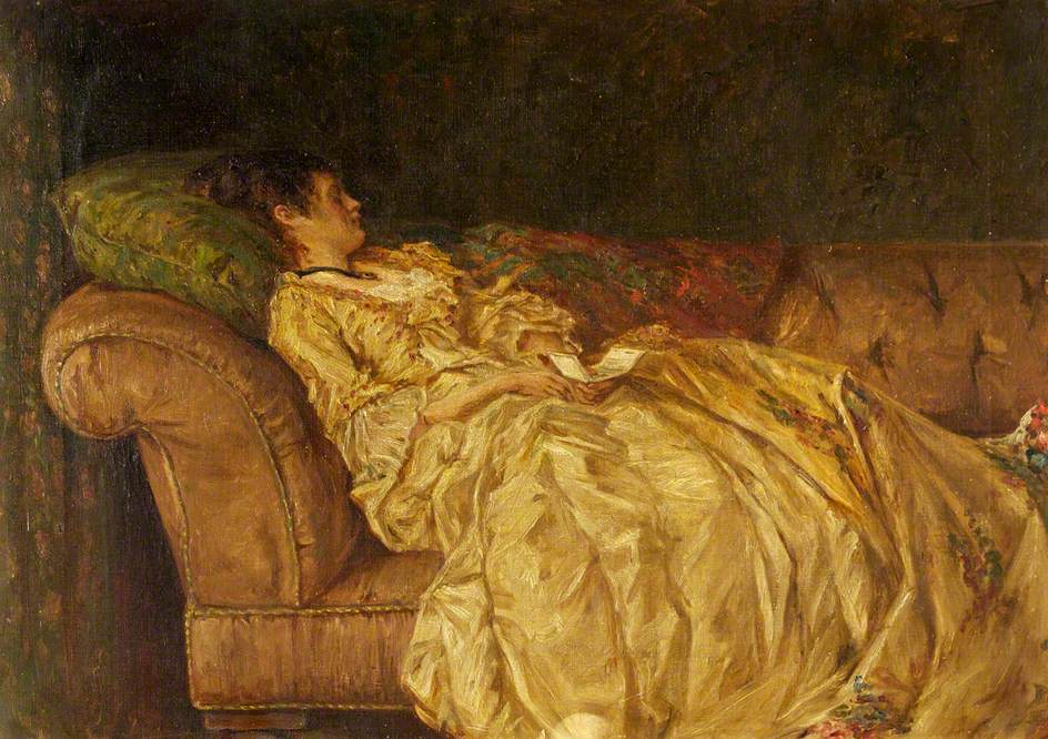 Woman Reclining on Couch