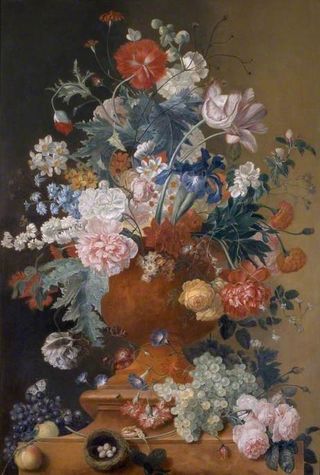 Flowers in a Terracotta Vase with Fruit and a Bird's Nest