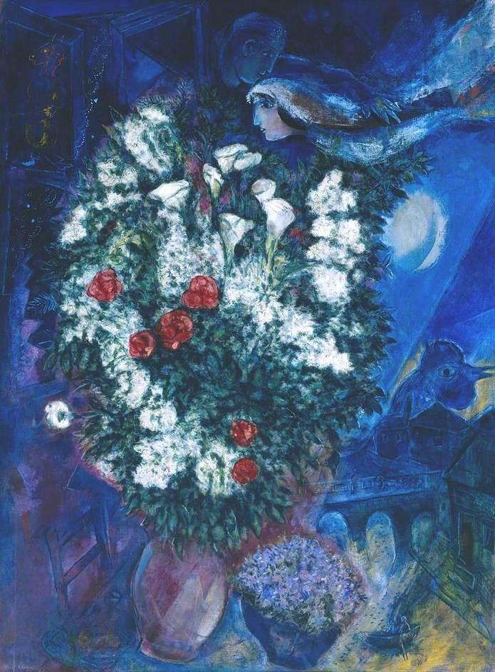 Bouquet with Flying Lovers (Bouquet aux amoureux volants)