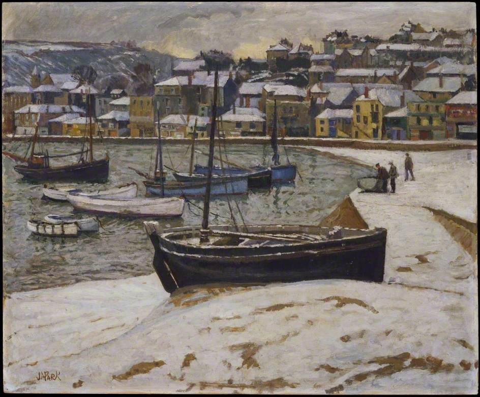 Snow in the Harbour of St Ives