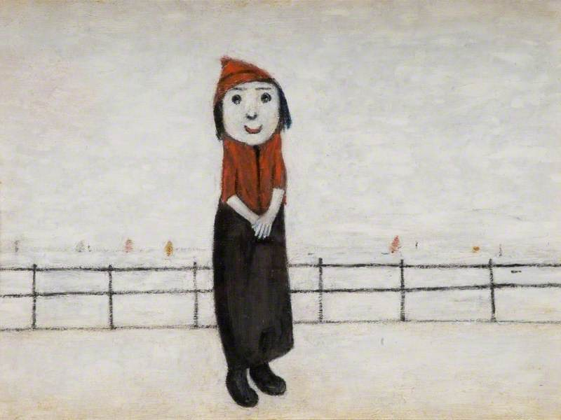Girl in a Red Hat on a Promenade