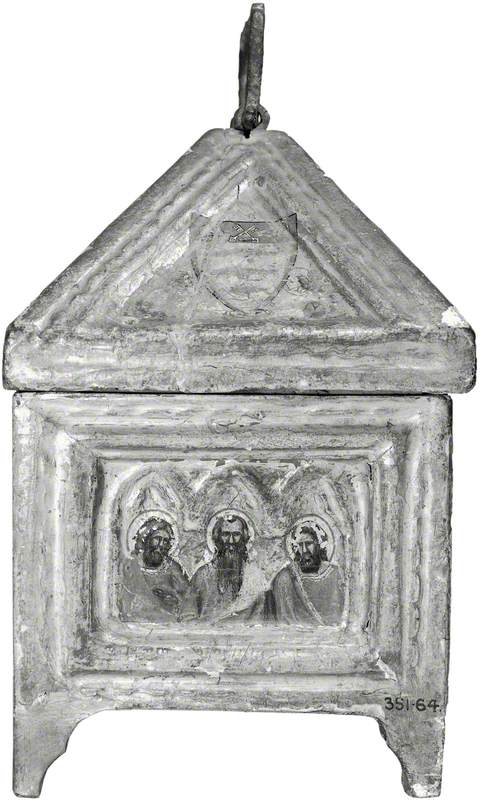 Coat of Arms (casket lid, side); Three Apostles (casket, side)