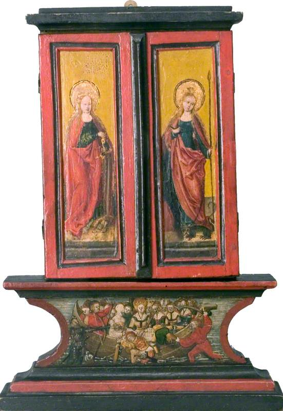Saint Catherine (left wing, exterior), Saint Margaret (right wing, exterior), Legend of Saint Ursula (predella) (triptych, closed)