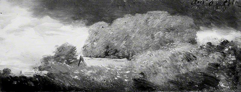Landscape with Trees and Cottages under a Lowering Sky
