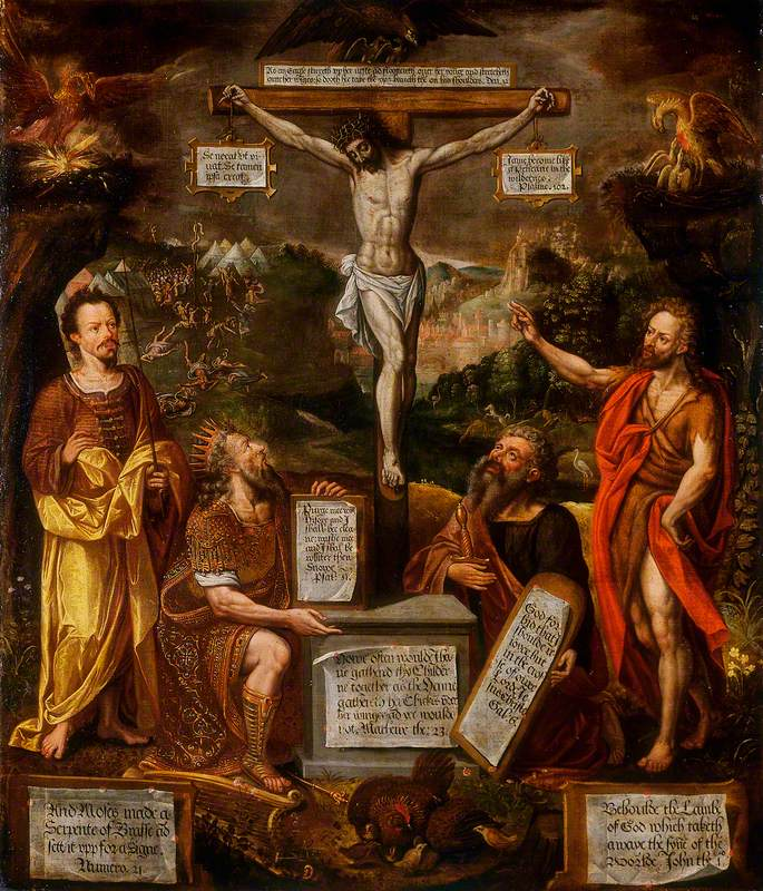 The Crucifixion with Moses, David, Saint Paul and Saint John the Baptist