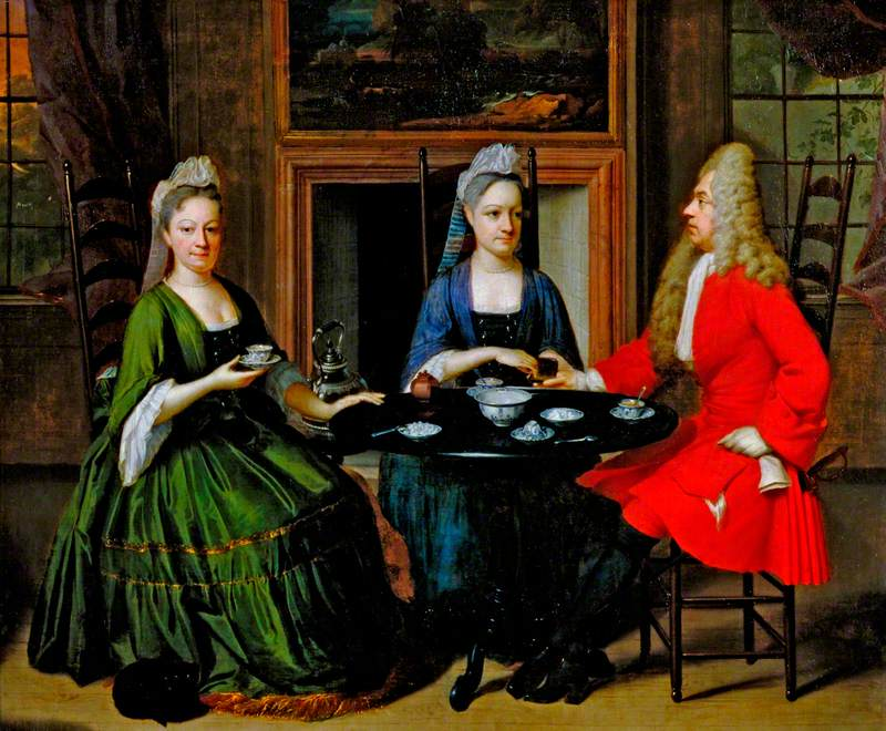 Two Ladies and an Officer Seated at Tea