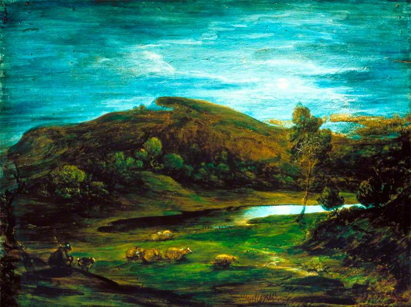 Open Landscape with a Shepherd, Sheep, a Pool and Distant Hills