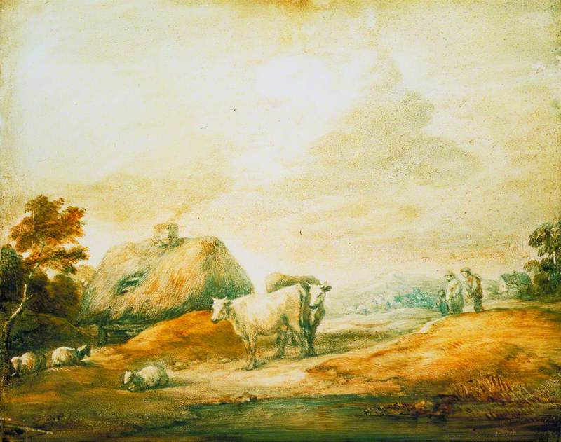 Open Landscape with Peasants, Cows, Sheep, Cottages and a Pool
