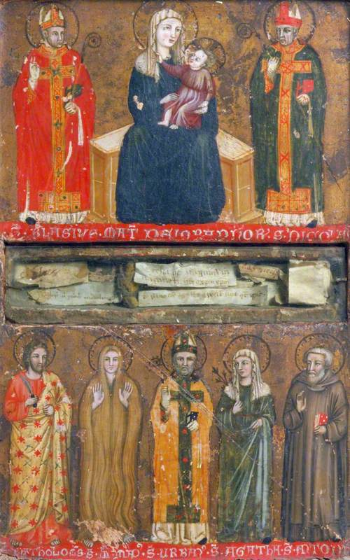 The Virgin and Child with Saints Blasius and Nicholas (top); Saints Bartholomew, Mary Magdalen, Urban, Agatha and Anthony (bottom) (left-hand panel of a reliquary diptych)